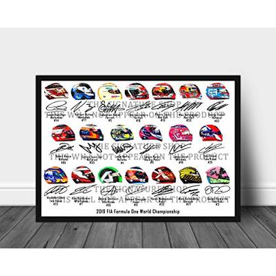 Formula 1 2019 Signed Print Of The Helmets From 20 Drivers 12 x 8 Inches