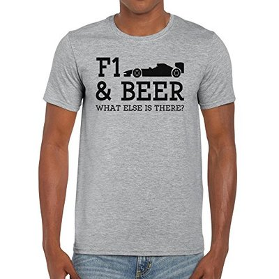 TeeDemon F1 and Beer What Else is There? – Funny – Mens Shirts – Men's Tshirt Casual T-Shirt Gift Sport Grey – XL