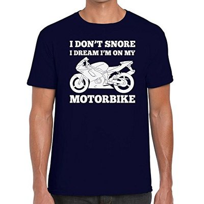 Funky NE Ltd I Don't Snore, I Dream I'm On My Motorbike – Biker's Tshirt – 100% Cotton – Small to XXL – 11 Colours – Great Gift Idea – Navy Blue – L