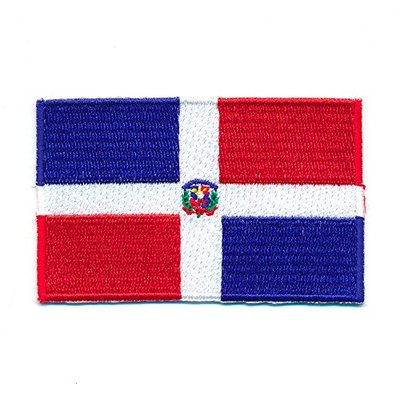 Dominican Republic 80 x 50 mm Santo Domingo Flag Sew-On Badge/Iron-On Patch 1002 x