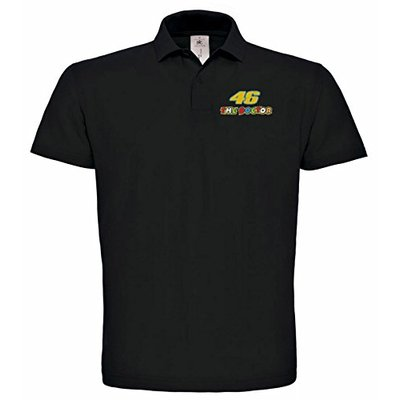 avstickerei 46 The Doctor Valentino Rossi Motorcycle Embroidered Car Polo T-Shirt Really Premium Quality -056 (XXL) Black