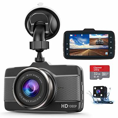 Claoner Dash Cams for Cars Front and Rear 1080P Full HD Dashcam, (32g Card Included) Dual Dash Cam with F1.8 Night Vision 170°Wide Angle Dashcams for Cars, Loop Recording, G-sensor, Parking Monitor