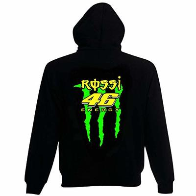 Rossi Energy Motorcycle Style Hoodie Black with Fluorescent Colour Design. (Large)