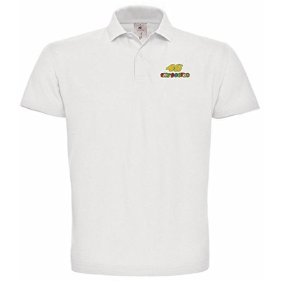 avstickerei 46 The Doctor Valentino Rossi Pilot Motorrad Embroidered Polo Really Premium Quality – 056 – Weiß (XXL)