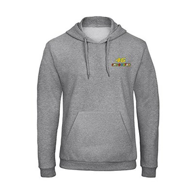 avstickerei 46 The Doctor Valentino Rossi Pilot Motorrad Embroidered Hooded Pullover Hoody VIP Really Premium Quality – 7056 Grey (L)