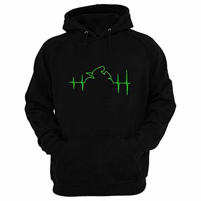 Racing Heart Motorcycle Style Hoodie Black with Fluorescent Green Colour Design. (Large)
