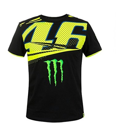 Valentino Rossi VR46 Moto GP Monster Energy Monza Rally T-shirt Official 2018, Black, T-L