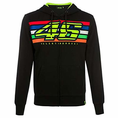 Valentino Rossi VR46 Mens Hoodie Zip Up Jacket Black Striped Hoody Sizes XS-XXXL