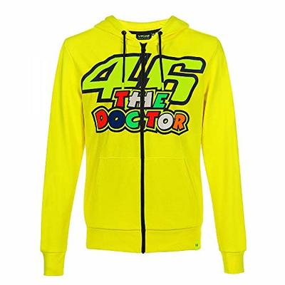 Valentino Rossi Vr46 Classic-46 The Doctor, Full Zip Hoodie for Men, Yellow, L