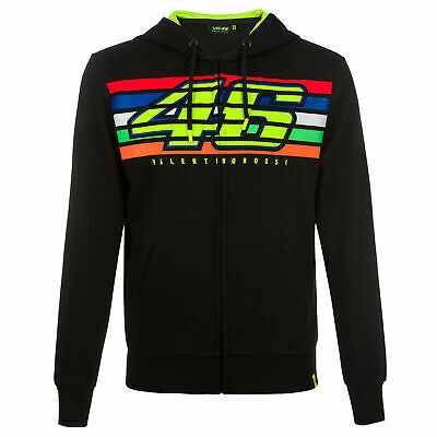 VR46 Valentino Rossi Mens Hoodie Zip Up Jacket Black Striped Hoody Sizes XS-XXXL