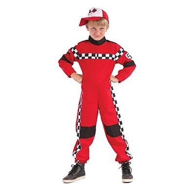 Racing Driver Costume Formula One F1 Boys Girls Red Fancy Dress Outfit