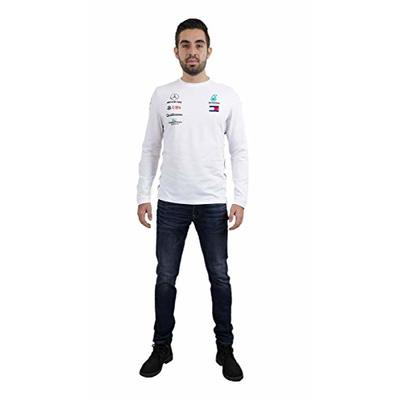 Mercedes-AMG Petronas Fuel for Fans Men's Formula 1 2020 Team Long Sleeve T-Shirt, White, L