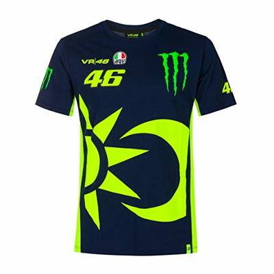 Valentino Rossi Men's VR46 Monster Dual T-Shirt, Blue, XX-Large 124cm/49in Chest