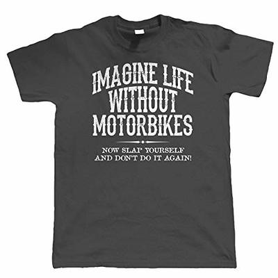 Life Without Motorbikes, Mens Funny Biker T Shirt, | Motorbike Enthusiast Motorcycle Club Chopper Cafe Racer Superbike Gentleman Biker | Cool Birthday Present Him Dad Husband Son Charcoal