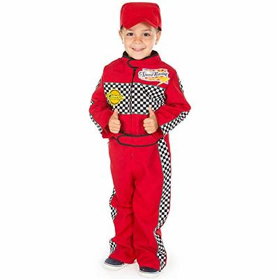 F1 Racing Driver Costume Kids 5-7 Years, High Quality, Red Racing Suit & Cap, 2-Piece Fancy Dress for Kids & Toddlers | Dress Up for Girls & Boys, Unisex | Role Play for Kids by Pretend to Bee