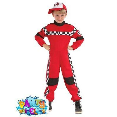Child Racing Driver Costume Formula One F1 Red Fancy Dress Outfit