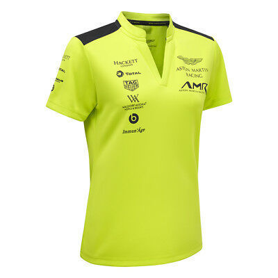 Sale! 2018 Aston Martin Racing Ladies Polo Shirt Top Lime Green Women Girls